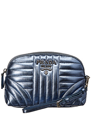 d8b416befe1dcf Prada Diagramme Metallic Leather Cosmetic Bag from Gilt - Styhunt