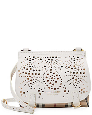 6ea56ef96999 Burberry Baby Bridle Perforated Haymarket Check Leather Crossbody ...
