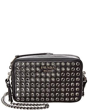 8b998aef48c525 Prada Diagramme Studded Small Leather Camera Bag from Gilt - Styhunt