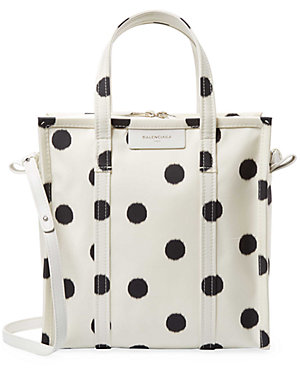 70386609e0 Balenciaga Bazar Small Aj Polka Dot Silk Shopper Tote