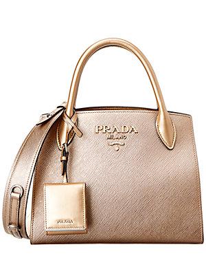 6c60d01039de Prada Small Monochrome Saffiano Leather Double Handle Tote