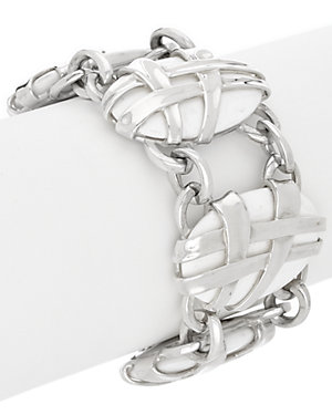 SLANE Crescent Weave Silver 164 ct. tw. Onyx Toggle Bracelet