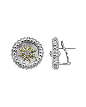SLANE Solis 18K & Silver 0.18 ct. tw. Diamond & Mother-of-Pearl Studs