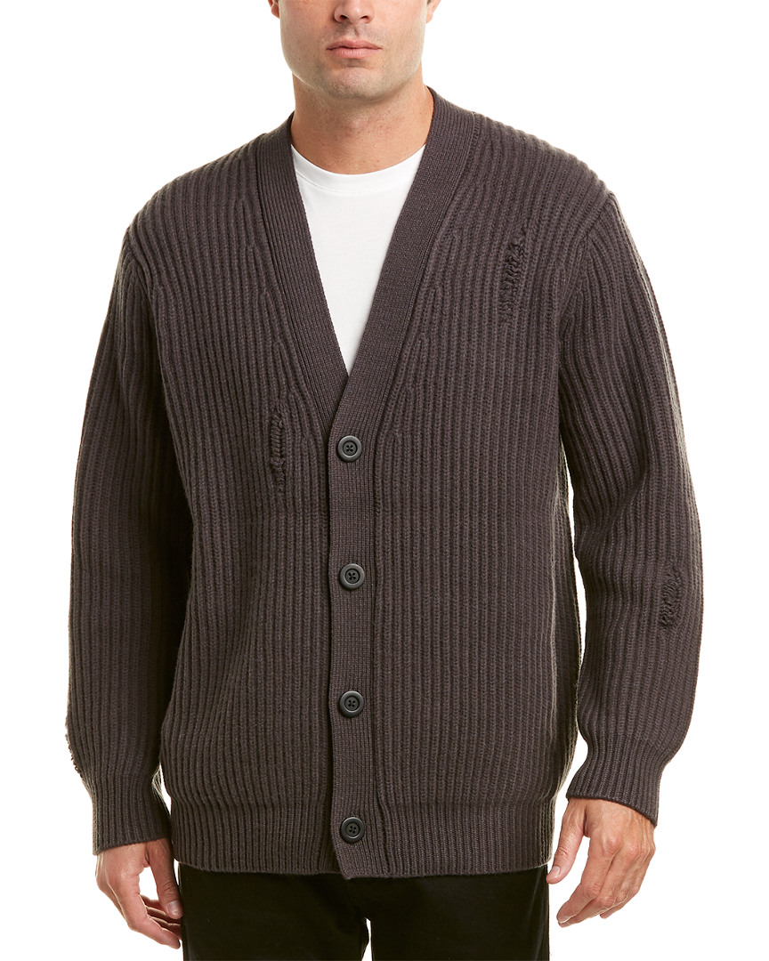 Vince Distressed Wool & Cashmere-Blend Ribbed Cardigan 10107570730004