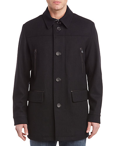 Cole Haan Wool-Blend Leather-Trim Coat