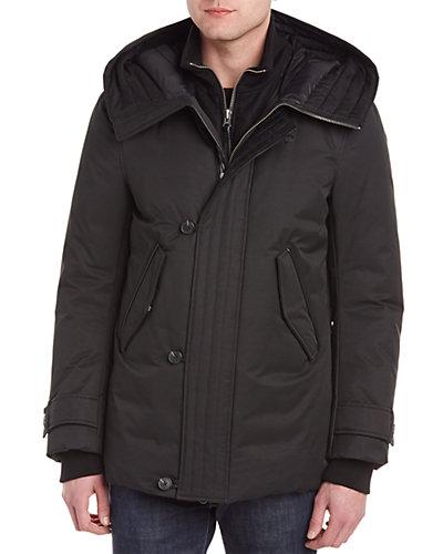 Mackage Lloyd Wool, Cashmere, & Leather-Trim Down Coat