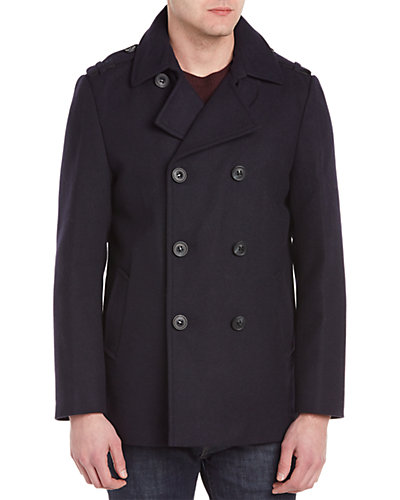 Mackage Carlo Wool & Cashmere-Blend Leather-Trim Coat