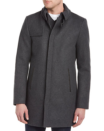 Soia & Kyo Emery Wool-Blend & Leather Topcoat