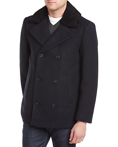 Soia & Kyo Leroy Wool-Blend & Shearling Peacoat