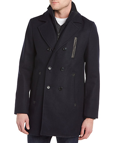 Soia & Kyo Howard Wool-Blend & Leather Peacoat