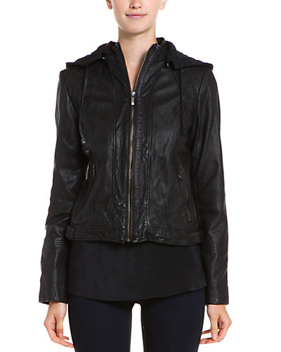 Cole Haan Leather Hooded Moto Jacket