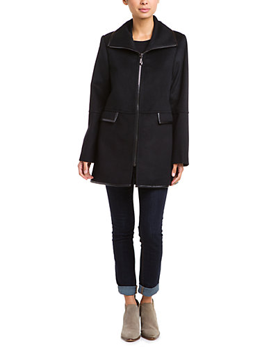 Caruana Black Leather-Trimmed Wool Coat