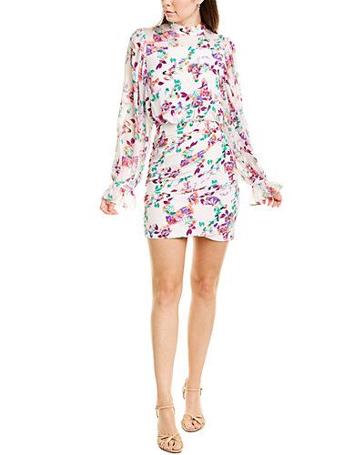 Rue La La — Saloni Rina Silk-Blend Midi Dress