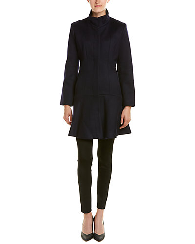 sofiacashmere Funnel Neck Wool & Cashmere-Blend Coat