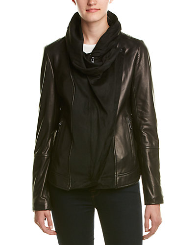 Vince Camuto Oversized Collar Leather Jacket