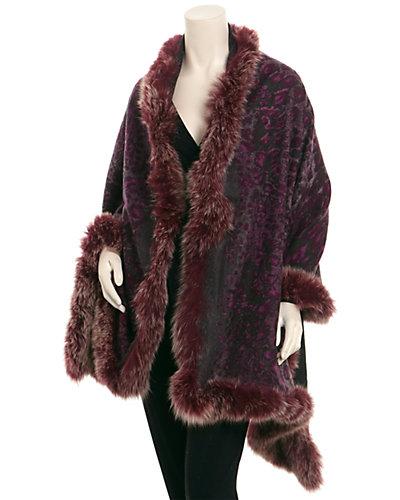 La Fiorentina Purple & Charcoal Printed Leopard Wrap