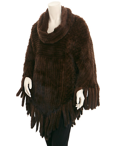 Belle Fare Brown Mink Knitted Poncho