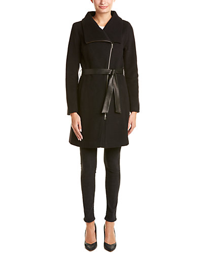 Soia & Kyo Jovie Leather-Trim Wool & Cashmere-Blend Asymmetrical Coat