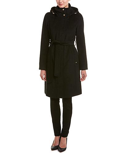 Ellen Tracy Belted Wool-Blend Coat