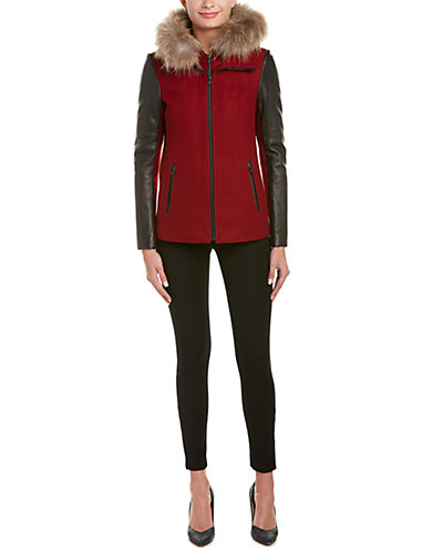 Soia & Kyo Kasia Leather-Trim Wool-Blend Jacket