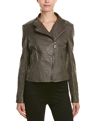 Cole Haan Distressed Leather Moto Jacket