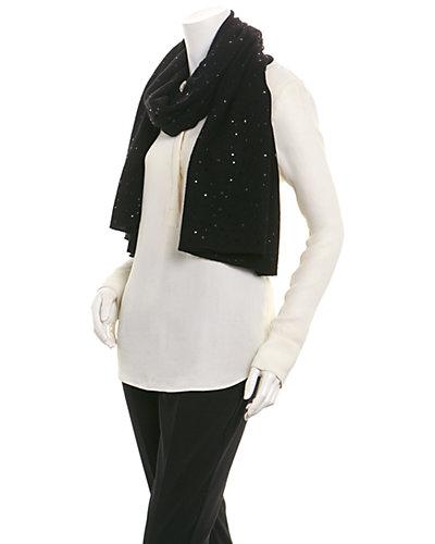 InCashmere Women's Black Cashmere Crystal Shawl