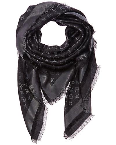 Louis Vuitton Black Monogram Silk & Wool Blend Shine Shawl