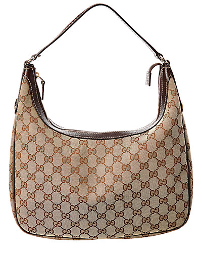Gucci Gg Canvas & Brown Leather Shoulder Bag by Gucci