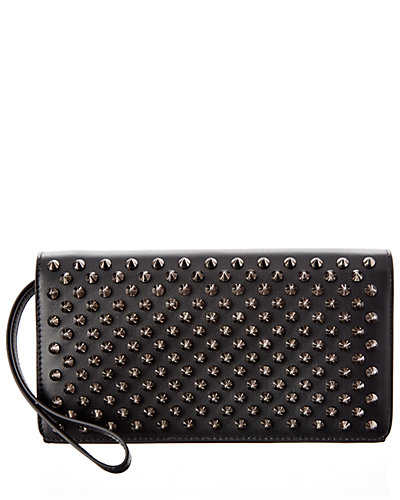 Christian Louboutin Macaron Spiked Leather Continental Flap Wallet
