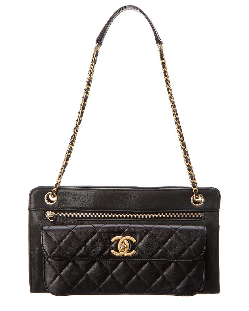Chanel Black Quilted Lambskin Leather Pocket Shoulder Bag In Nocolor 556d1835c018c