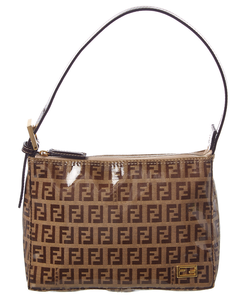 f62b8bed3 Fendi Brown Zucchino Coated Canvas Shoulder Bag | eBay