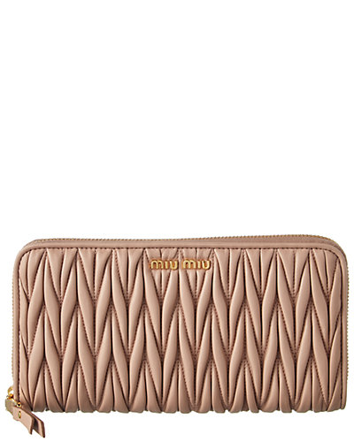 MIU MIU Matelassé Nappa Zip Around Wallet