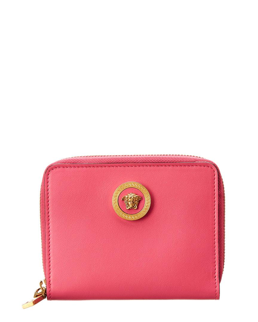 3873dd33d7 Versace Womens Medusa Tribute Leather Zip Around Wallet, Pink ...