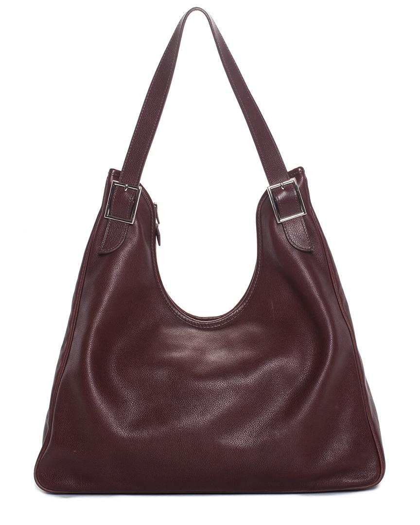Dark Maroon Leather Massai Cut 40 Shoulder Bag, Nocolor