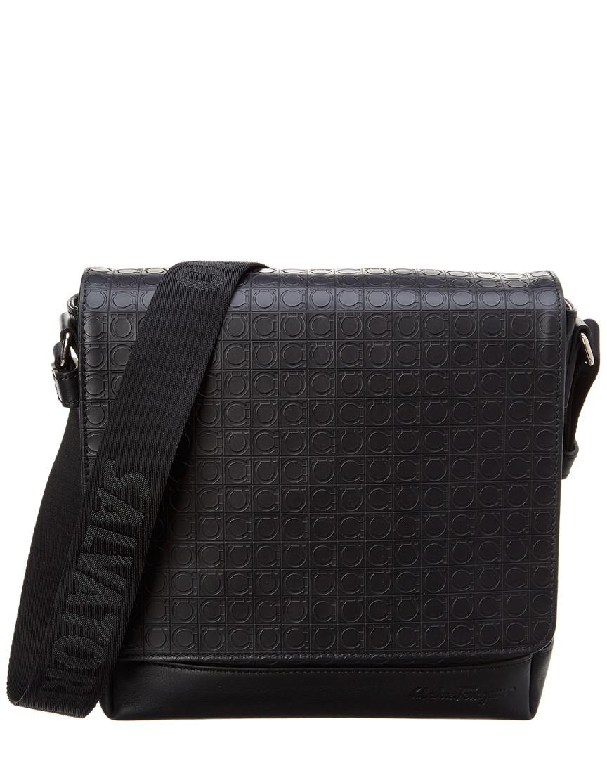 Salvatore Ferragamo Gancio Embossed Leather Messenger Bag In Black 8efbe5fe56f68