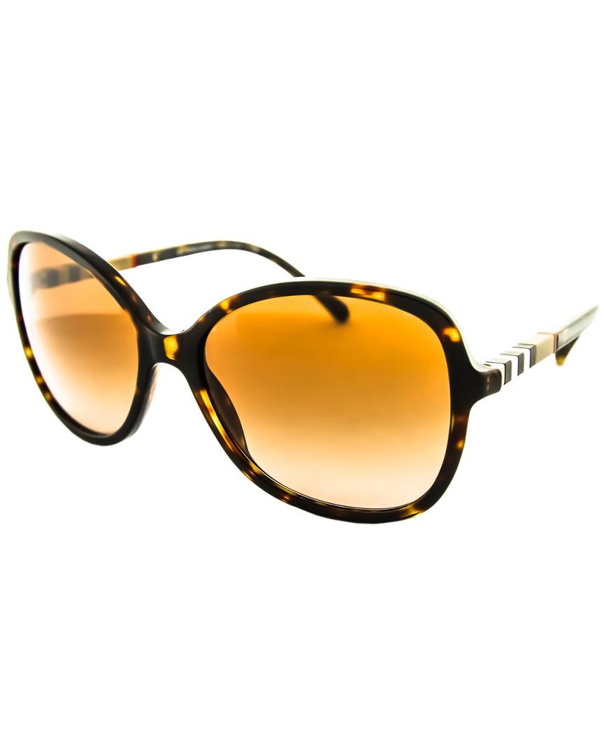 bf4af9aa4810 Burberry Women s BE4197F 300213 Sunglasses. Frame shape  round  Frame  color  dark havana ...