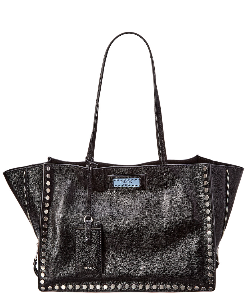 ETIQUETTE STUDDED LEATHER TOTE