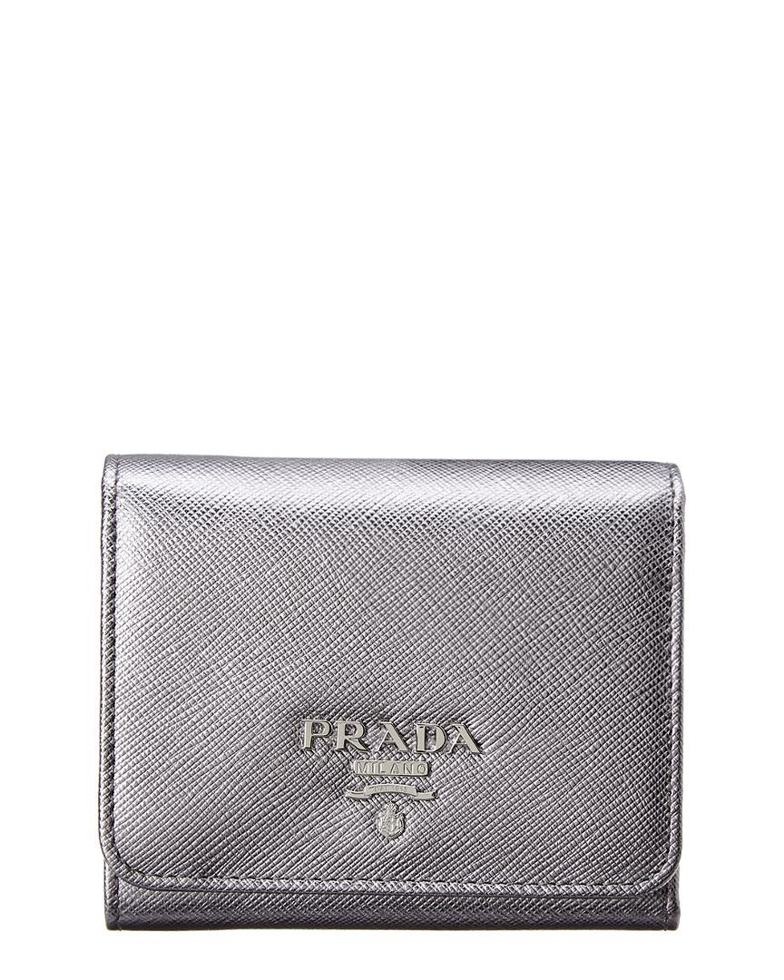 65d69505b6e6 Prada Saffiano Leather Trifold Flap Wallet In Silver