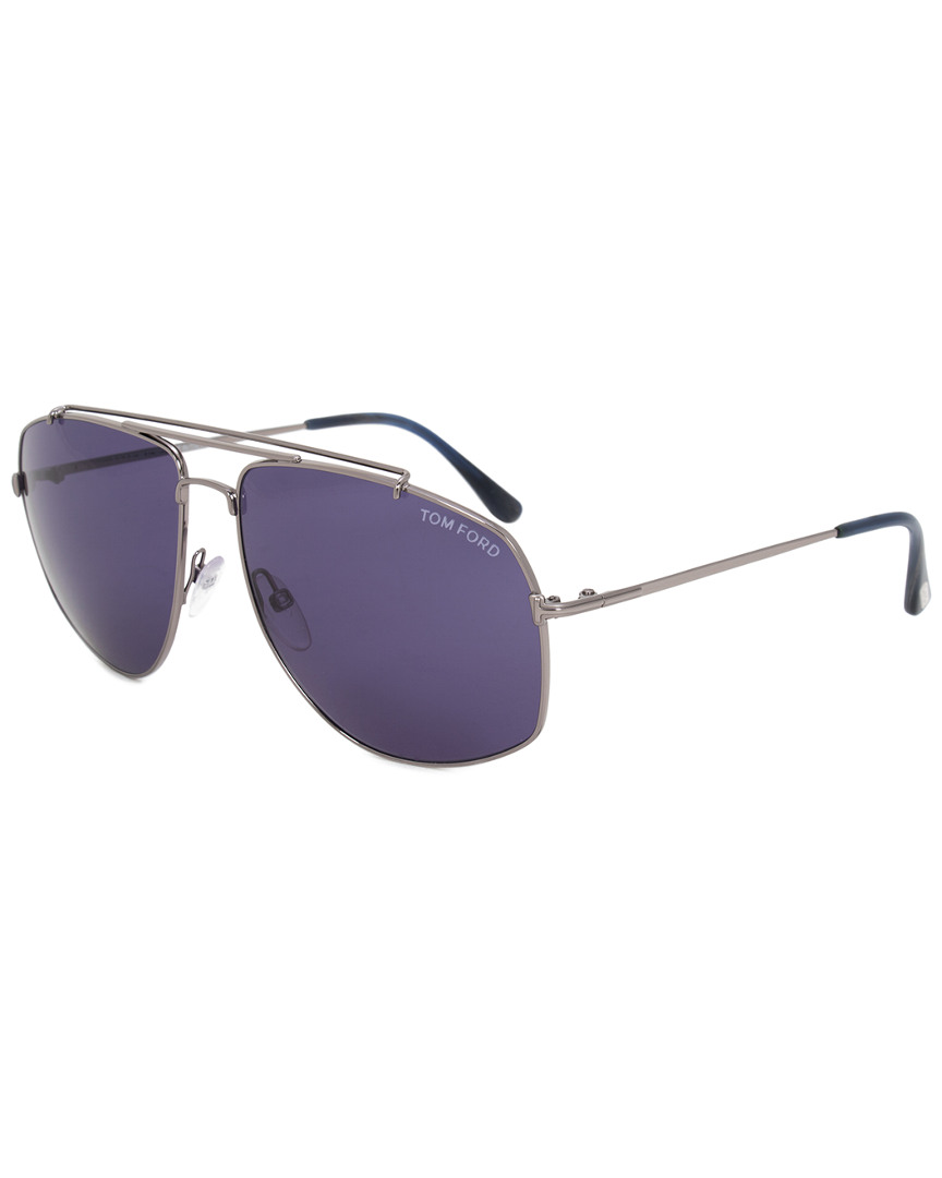 UNISEX JUSTIN PILOT SUNGLASSES FT0467 13B 60 GREY METAL FRAME GREY GRADIENT LENSES 60MM SUNGLASSES