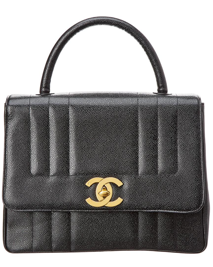 Chanel BLACK CAVIAR LEATHER VERTICAL KELLY BAG