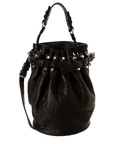 Alexander Wang Diego Small Leather Belted Bucket Bag With Rhodium