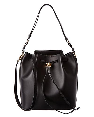 Salvatore Ferragamo Sansy Leather Drawstring Bucket Bag