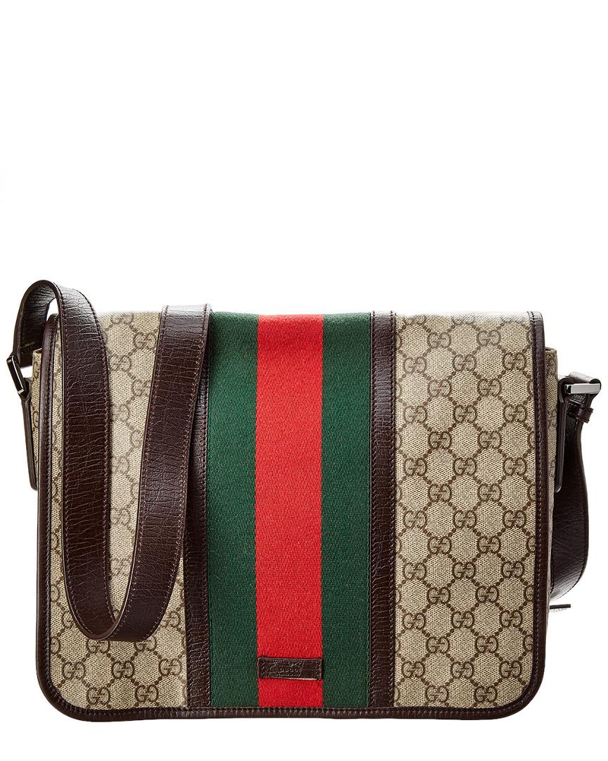 4c4176412ff Gucci Brown Gg Supreme Canvas   Leather Web Flap Messenger Bag