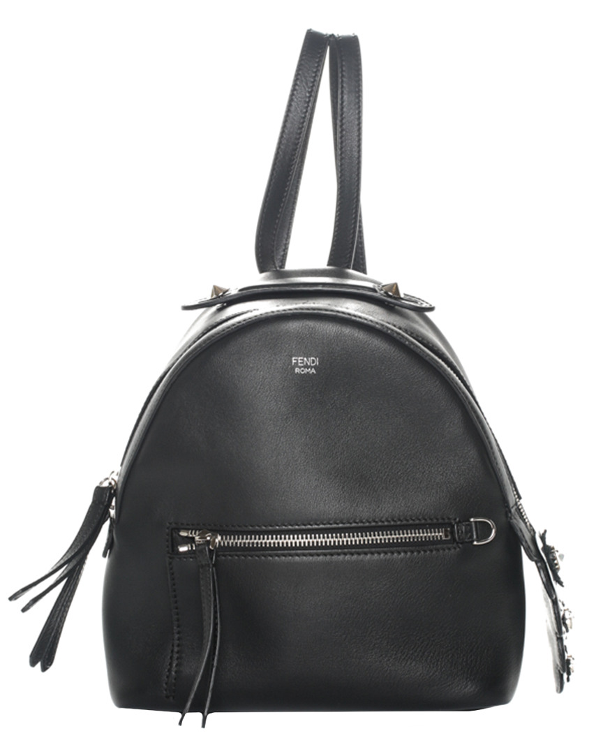 Fendi Black Leather By The Way Mini Flower Charm Backpack In Nocolor 577b8ad3fd6c8
