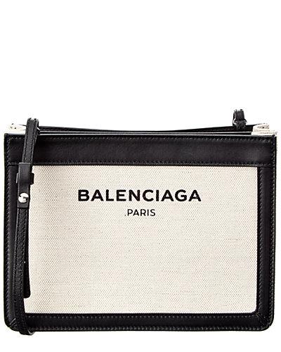 Balenciaga Navy Pochette S Canvas & Leather Clutch
