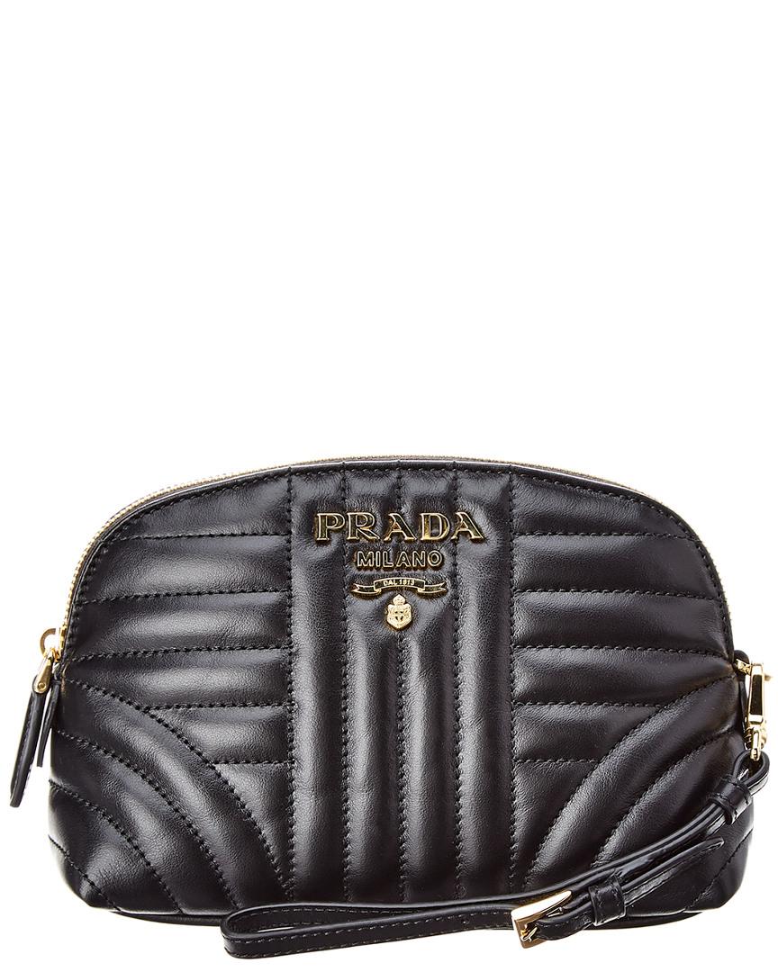 Shop Prada Diagramme Leather Cosmetic Bag In Black cf3c4d0c5e2a2
