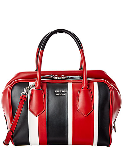 Prada Medium Inside Soft Stripe Leather Double Handle Shoulder Bag