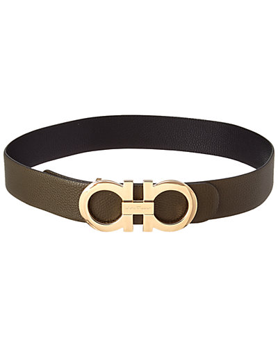 Salvatore Ferragamo Oversized Double Gancio Reversible Leather Belt