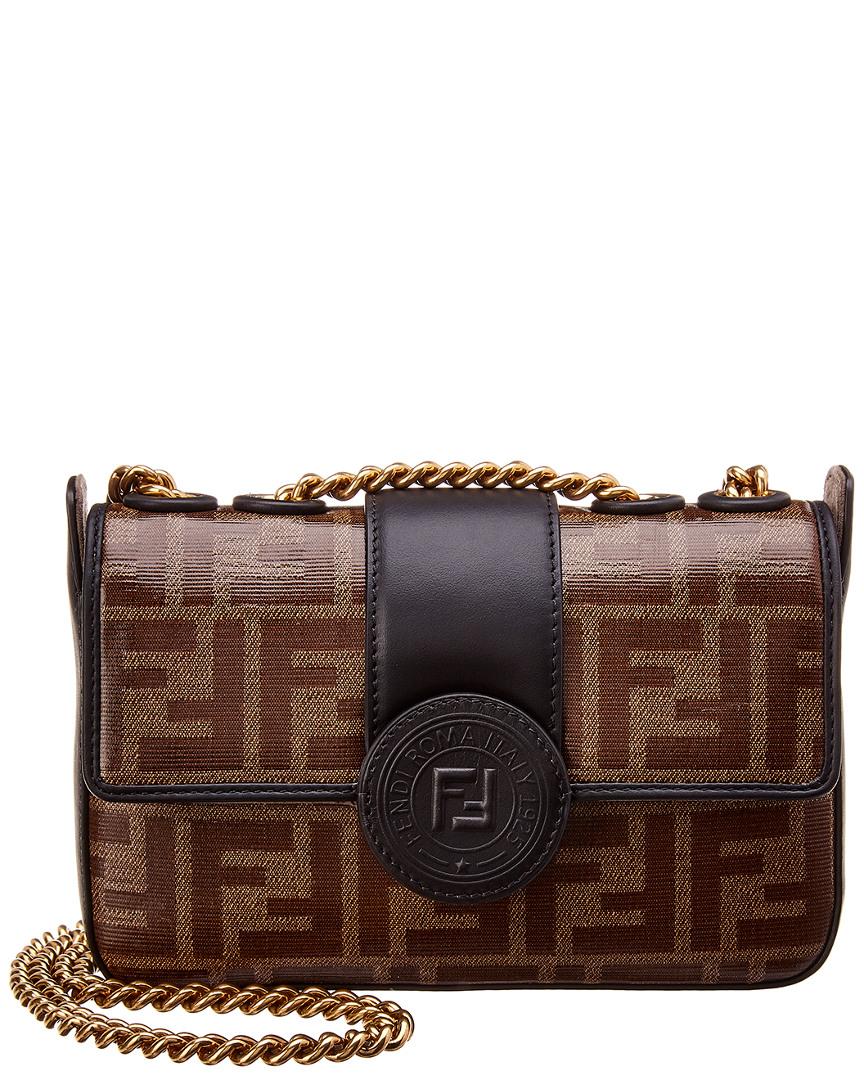8ab20c21da Fendi Double F Leather Shoulder Bag