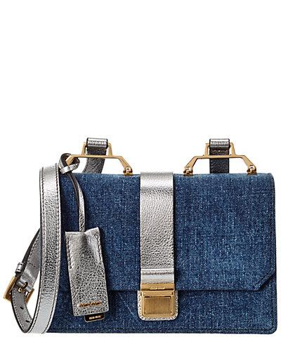 MIU MIU Madras & Denim Shoulder Bag